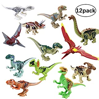 GoTravel2 Jurassic World Toys, Mini Dinosaur Toy Playset, DIY Dinos Building Block Action Figures, Educational Gift for Boys and Girls, Perfect as Party Supplies, or as Cake Toppers (red)
