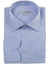 c3a32a0a098d3a Artigiano Herren Hemd mit Langarm ohne Brusttasche fein kariert blau.weiß  Größen  ...