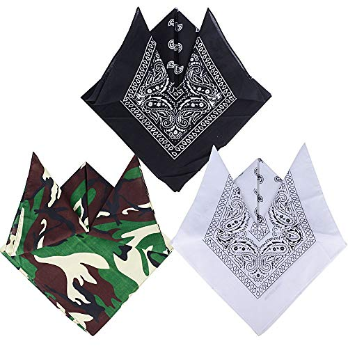 QUMAO Pack 3 Pañuelos Bandanas Modelo Paisley Cuello/Cabeza