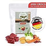 AniForte Natürliches Hunde-Futter Trockenfutter Country-Beef 1,5kg, Mini Crocs für Kleine Hunde, Rind-Fleisch, 100% Natur, Allergiker, Getreide-Frei, Glutenfrei, Ohne Chemie und künstliche Vitamine
