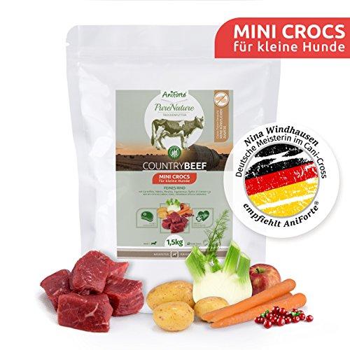 AniForte Natürliches Hunde-Futter Trockenfutter Country-Beef 1,5kg, Mini Crocs für Kleine Hunde, Rind-Fleisch, 100% Natur, Allergiker, Getreide-Frei, Glutenfrei, Ohne Chemie und künstliche Vitamine (Den Kleinen Hund Rind)