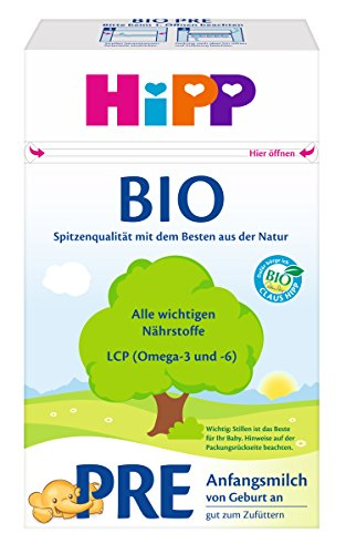 HiPP Milchnahrung Pre Bio, Anfangsmilch von Geburt an, 4er Pack (4 x 600 g) (Baby Milch)