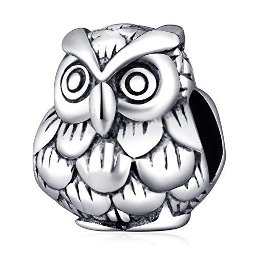 Soulbead - ciondolo a forma di gufo portafortuna in vero argento sterling 925 per bracciali e gioielli europei