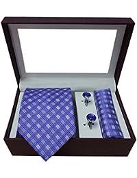 Riyasat - Check Design Purple Color Micro Fibre Men,s Tie, Cufflink and Pocket Square Gift Set .(S_069)