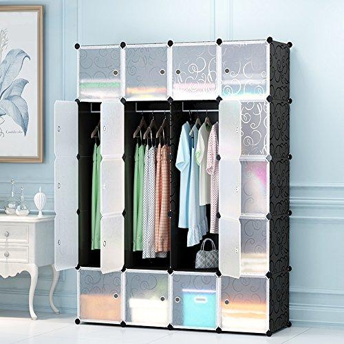 ETTBJA DIY Plastik Schrank Portable Geschweiften Muster Kleiderschrank Mit transparentem Türen Speicher-Design ihre eigenen (20 Würfel mit 3 hangers) (Schrank-tür-speicher)