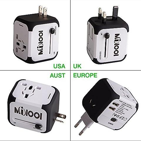 Adaptateur de Voyage avec 2 USB Adaptateur Universel Pris de Courant pour UE/US /UK /AUS Utilisé dans plus de 150 pays Adaptateur Chargeur avec deux fusible(fusible de rechange)-Blanc-MILOOL