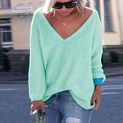 hibote Les femmes à manches longues pull en maille pull lâche pull tops Knitwear Blouses Vert