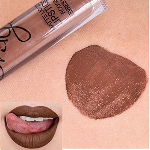 ROMANTIC BEAR 16 Colors Waterproof Long Lasting Matte Liquid Lipstick Beauty Lip Gloss (rown) (F Cosmetics Lipgloss Matt E L)