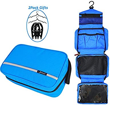 Hanging Toiletry Bag Waterproof, Jiemei Travel Wash Bag for Men & Women with 4 Compartments, Foldable Compact Size, High Quality Zipper, 2 Pack Portable Coat Hangers as GIFT