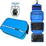 Bolsa de aseo para colgar, Jiemei Bolsa de aseo de viajepara hombres y mujeres con tamaño compacto y plegable, cremallera de alta calidad, 2 paquetes de perchas portátiles de regalo(azul)