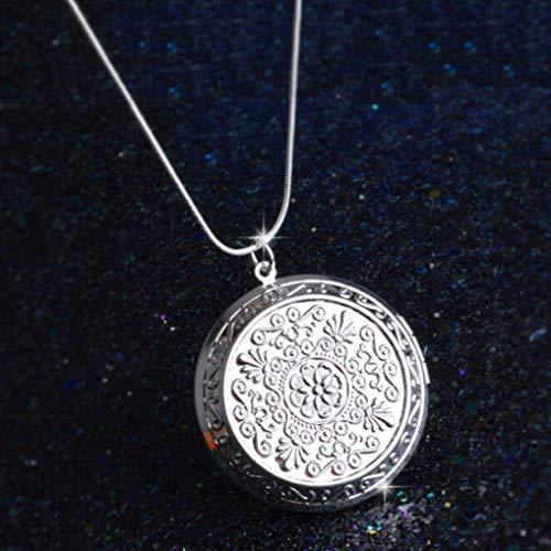 Ingramblum Nice Pendant Chain Necklace/Woman Man Friend Photo Picture Frame Locket Pendant Chain Necklace (Halskette)(None Silver Pendant.)