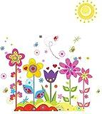 ufengke® Bunten Blumen Niedliche Schmetterlinge Sonne Wandsticker, Kinderzimmer Babyzimmer Entfernbare Wandtattoos Wandbilder