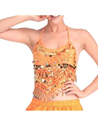 VENI MASEE Danza del Vientre Oro Lentejuelas sujetador con acolchado, danza del vientre Disfraz & Accesorios, precio/pieza