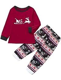 Zolimx Weihnachten Family Pyjamas Anzug Frauen-Mama-Männer Daddy und Jungen Karikatur-Blusen-Hosen-Familien-Pyjamas-Nachtwäsche passender Weihnachtssatz