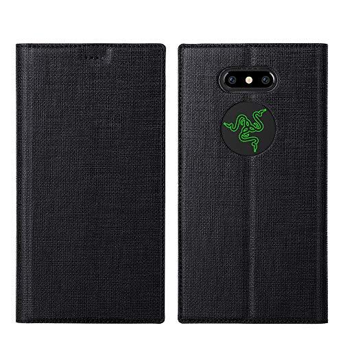 Razer Phone 2 Hülle,Leder Tasche Flip klappbares Case Cover Standfunktion Kartenfach Magnetverschluß Card Holder kristallklarer TPU Stoßstange Wallet Schutzhülle Handyhülle für Razer Phone 2 (Schwarz)