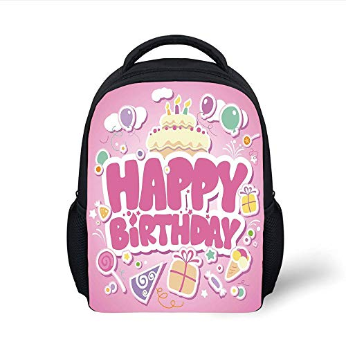 Kids School Backpack Birthday Decorations for Kids,Cartoon Seem Party Image Balloons Boxes Clouds Cake Image,Light Pink Plain Bookbag Travel Daypack