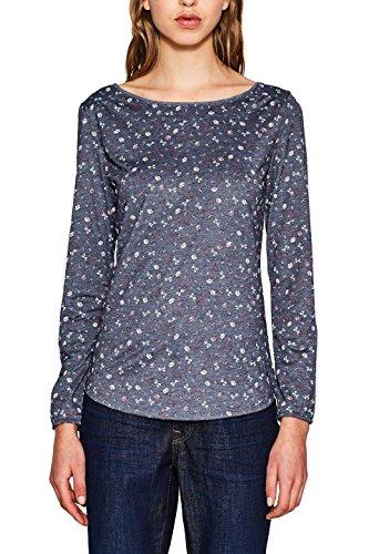 edc by Esprit, T-Shirt à Manches Longues Femme Bleu (Navy 5 404)