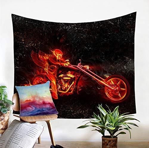 Qhrdp Bettwäsche Abdeckung Flamme Schädel Tapisserie 3D Print Wandbehang Wandteppiche Blau Rot Feuer Gothic Wand Teppich Dekor Für Haus Tagesdecken 130X150Cm