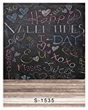 District 1,5 x 2,1 m Vinyle Digital Saint-Valentin Amour Hug Kiss Effet Tableau noir Studio photo Toile de fond Fond...