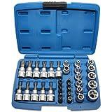 Steckschlüssel Schraubenschlüssel-Einsatz Bit/Bitsätze Satz TORX®E-Profil E4-E20 + T-Profil T10-T60 Einsätze (inkl. Sicherheits-Bit/Bitsätzemit Stirnloch-Bohrung für Sicherungsstift),) 34 tlg.