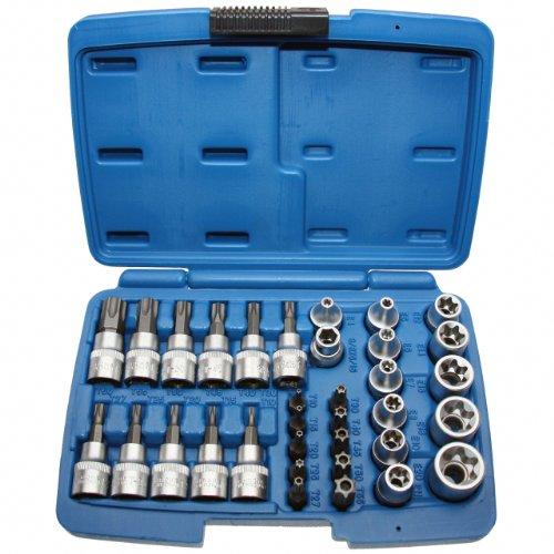 Steckschlüssel Schraubenschlüssel-Einsatz Bit Satz TORX®E-Profil E4-E20 + T-Profil T10-T60 Einsätze (inkl. Sicherheits-Bit mit Stirnloch (mit Stirnlochbohrung für Sicherungsstift),) 34 tlg.