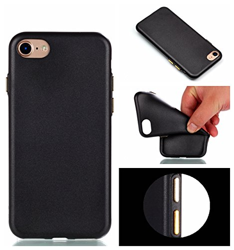 YHUISEN IPhone 7 Plus Case, Solid Color Matte Slim Fit Soft TPU Gel Durable Shock Absorbing Schutzhülle für IPhone 7 Plus (5,5 Zoll) ( Color : Black ) Black