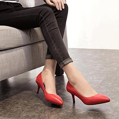 Damen Pumps Slip on Spitz Zehen OL Büro Klassisch Einfach Atmungsaktiv Strapazierfähig Bequem Modisch Stiletto Rot