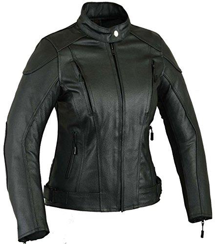 Impact Leder Motorrad Jacke Frauen Damen Schutz Mantel, L -