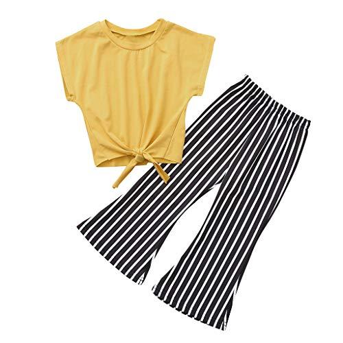 JUTOO Kleinkind Baby Mädchen Kurzarm Schnürung Feste Tops + gestreifte Hose Kleidung Set (Gelb,100)