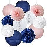 12gemischte Navy Blau Pink Weiß Party Pompoms hängende Dekoration Papier Laterne Nautical Themed Vintage Hochzeit Geburtstag Girl Baby Dusche Kindergarten Wabenbälle