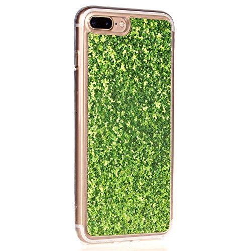 Cuitan TPU Glitzer Schutzhülle für Apple iPhone 7 plus (5,5 Zoll), Glänzende Puder Glitter Shinning Rück Abdeckung Case Cover Hülle Handytasche Rückseite Tasche Handyhülle für iPhone 7 plus (5,5 Zoll) Grün