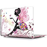 iCasso New Art Fashion Image Series Ultra Slim Light Weight Rubberized Hard Case Glossy Clear Crystal Snap-On Hard Cover Case for MacBook Air 11 inch (Model: A1370 /A1465) - Butterfly Girl