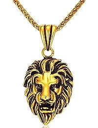 MESE London Collar Cabeza De León Bañado En Oro 18K Colgante Hombres Con Cadena - Elegante Caja De Regalo