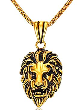 MESE London Löwe-Kopf-Halsketten-18K Kette Männer Anhänger - Elegante Geschenkbox
