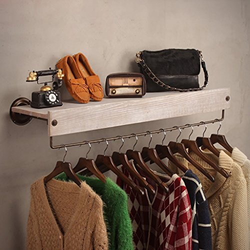 SH-qiang Garderoben Bekleidungsgeschäft Kleidung Massivholz-Display-Ständer Retro-Eisen Wand montiert Side-Mounted Hanging Racks Regale Racks Wandgarderobe (Größe : 80cm)