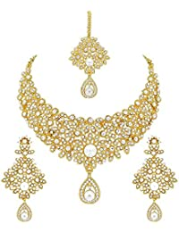 Apara Gold Plated Necklace Set Combo With Austrian Diamond For Women