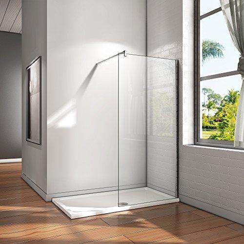 100x200cm Walk in Duschwand Duschtrennwand 8mm Easy-clean Nano Glas Duschabtrennung mit Stabilisierungsstange