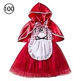 Diuspeed Niños Navidad Halloween Disfraz, Caperucita Roja Disfraz Princesa Vestido Disfraz de Navidad Performance Vestido de Fiesta para niña Make Up Etapa de Disfraces, a, 100