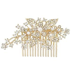 EVER FAITH® österreichischen Kristall Blume Blatt Braut Haarkamm Haarschmuck Gold-Ton N00415-2
