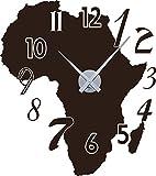 GRAZDesign 800123_SI_080 Wandtattoo Wandaufkleber Uhr Wanduhr für Wohnzimmer Zahlen Afrika Kontinent (64x57cm//080 Braun//Uhrwerk Silber)