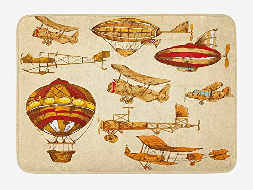 Lane Old Print (tgyew Aviation Bath Mat, Vintage Old Flying Objects Hot Baloons Planes Parachutes Print, Plush Bathroom Decor Mat with Non Slip Backing, 23.6 W X 15.7 W Inches, Sand Brown Apricot Mustard Red)