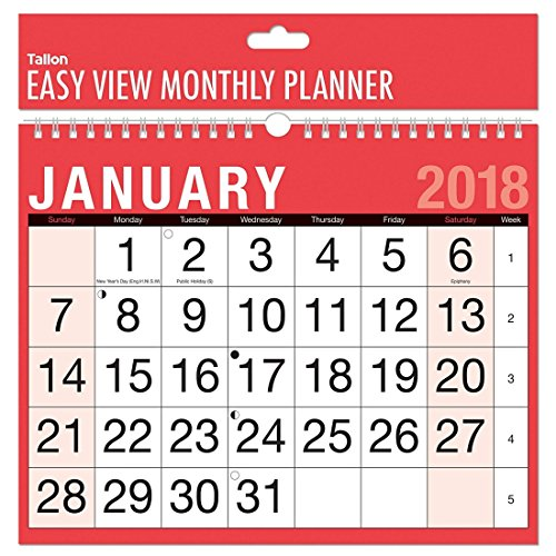 2018 A4 Easy Month To View Spiral Bound Wall Planner Calendar - Landscape - home office work
