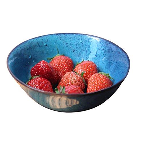 WSGZH Keramikschale - 7 Zoll Classic Peacock Blue Vintage Keramik Salatschüssel Europäische Obstdessert Geschirr Instant Nudelschüssel Größe: 18x6.5cm Classic 1000 Dessert