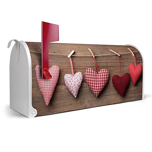 banjado-weie-US-Mailbox-17cm-x-22cm-x-51cm-amerikanischer-Briefkasten-mit-Motiv-Herzen