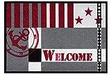Fußmatte Metropolitan für den Eingangsbereich, pflegeleichte und robuste Schmutzfangmatte, Farbe:Rot;Größe:50x70cm