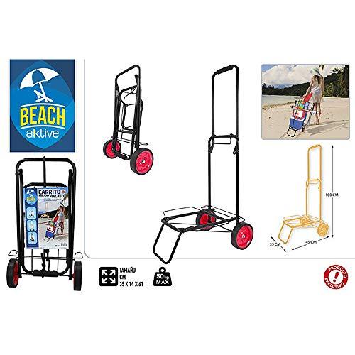 Carro Playa Plegable, Diseño Negro, 50kg máx. 35x14x61cm - Hogar y Más