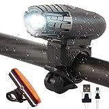 Juego de Luces de Ciclismo para Bicicleta Recargables USB - Faros súper Brillantes + luz Trasera Altamente Visible, Luces LED Impermeables con múltiples Modos para Todas Las Bicicletas