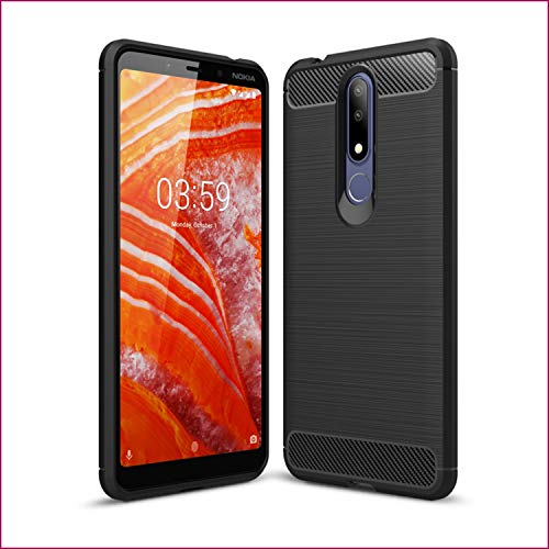 SCL Hülle Für Nokia 3.1 Plus Hülle,Handyhülle Exquisite Serie-Carbon Design Schutzhülle mit Anti-Kratzer und Anti-Stoß Absorbtion Technologie Nokia 3.1 Plus Case-Schwarz