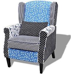 vidaXL Sillón de descanso con retales estilo campestre con flores azul y blanco