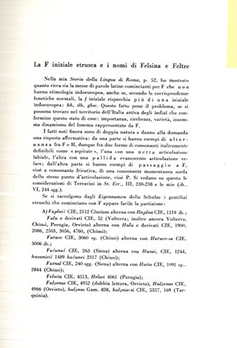 La F iniziale etrusca e i nomi di Felsina e Feltre.